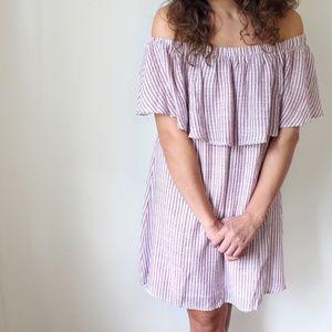 Striped Off The Shoulder Ruffle Sun Dress